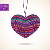 Love greeting card with knitted heart Stock Photography