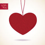 Love greeting card with knitted heart Royalty Free Stock Images