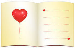 Love greeting card with place for text. Open love note, ochre paper, red heart balloon, lines, copy space for custom text royalty free illustration
