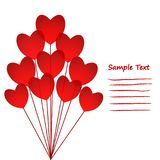 Love Greeting Card with red Hearts Balloons, stock vector illust Stock Image