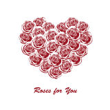 Love greeting card with red roses. Greeting card with red roses in the shape of heart Royalty Free Stock Image