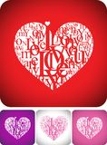 Love greeting card with typeface composition vector illustration