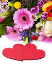 Love Greetings with Flowers Stock Photography