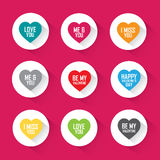 Love greetings in heart set - flat vector design Stock Photo