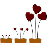 Love growing. Concept illustration showing little sprouts with a red heart slowly growing over time royalty free illustration
