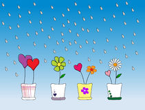 Love grows. Hearts and flowers growing with the rain royalty free illustration