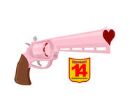 Love gun. Badge for Cupid. 14 February. On Valentine's day. Vale. Ntine's day. Weapons with charge of heart. Good gun Royalty Free Stock Photos