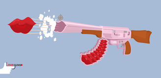 Love gun. Kiss. Valentines day. Cupids rifle. Vector illustratio Stock Image