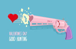 Love gun. Valentines day. Gun shoots at heart. Good hunting. Vec Stock Photos