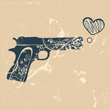 Love gun. Vintage emblem with gun shooting with Royalty Free Stock Photography