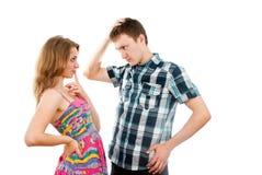 Love guy and girl flirt Stock Photo