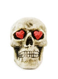 Love Halloween with scary skull. Halloween love with scary skull and sparkling red hearts. Isolated on white background Stock Image