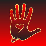 Love hand. Illustration of the palm print on a red background with heart in hand Stock Images