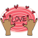 Love hand draw with color sweet Royalty Free Stock Image