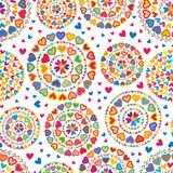 Love hand draw colorful glitter mandala seamless pattern. This illustration is design love mandala with colorful and glitter on white color background seamless Stock Photo