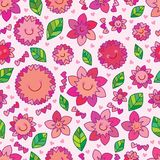 Love hand draw flower style smile seamless. This illustration is design cute love hand draw flower with smile style and loves in pink color background seamless Stock Photography