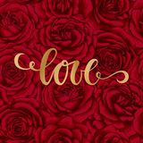 Love. Hand drawn brush pen lettering on background flower red rose. design holiday greeting card and invitation of wedding, Happy. Mother day, birthday Royalty Free Stock Images