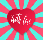 With love Hand drawn calligraphy and brush pen lettering with frame border of red hearts. Royalty Free Stock Photos