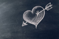 Love. Hand drawn heart on chalkboard Royalty Free Stock Image