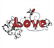 Love with hand drawn pattern, easy to modify Royalty Free Stock Photo