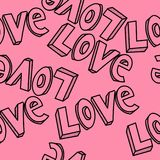Love hand drawn typography design repeated pattern vector Royalty Free Stock Image