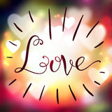 Love hand lettering on blur colorful background. Vector illustration, template for your design stock photography