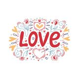 Love hand lettering with a decor of hearts and flowers. Vector illustration stock illustration