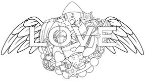 Love hand lettering and doodles elements with angel wings Stock Photography