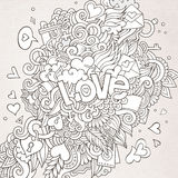 Love hand lettering and doodles elements Stock Image