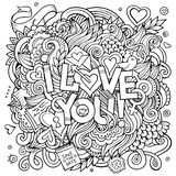 Love hand lettering and doodles elements background Stock Photography