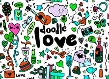 Love hand lettering and doodles elements sketch background. seam Stock Image