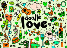Love hand lettering and doodles elements sketch background. seam Stock Images