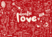Love hand lettering and doodles elements sketch background. seam Royalty Free Stock Image