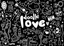 Love hand lettering and doodles elements sketch background. seam Royalty Free Stock Photo
