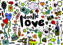 Love hand lettering and doodles elements sketch background. seam Royalty Free Stock Photography