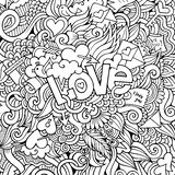 Love hand lettering and doodles elements sketch background Royalty Free Stock Photos
