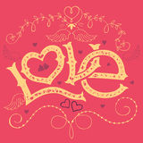 Love hand-lettering Valentines day card royalty free illustration