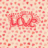 Love hand lettering. Valentines day card. Love hand lettering. Valentines day Greeting Card Stock Photo