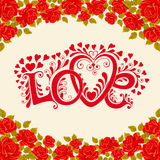 Love hand lettering. Valentines day card with red roses Stock Photo