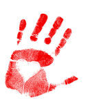 Love Hand print / Vector. Illustration of a hand-print with a heart. Vector available Stock Photography