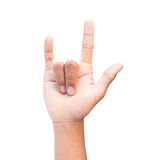 Love hand sign. And with clipping path isolated  on white background Stock Image