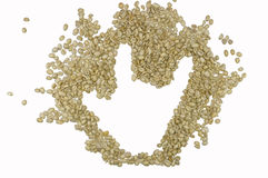 `LOVE` Hand sign image made up of unroasted coffee beans, isolated on white background Royalty Free Stock Photography