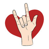Love hand sign with red heart Royalty Free Stock Photography