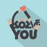 Love With Hand Sign Typography Design Royalty Free Stock Photo