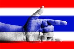 Love hand symbolic on flag of Thailand. Love hand symbolic on Nation flag of Thailand Stock Photos