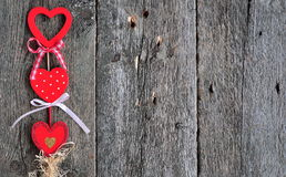 Love handmade hearts on wooden texture background, valentines day card concept Stock Image