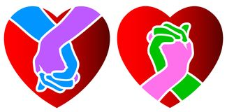 Love hands. In heart shape isolated illustrated icons Royalty Free Stock Photo