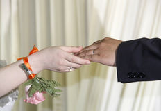 Love in hands. Man and woman hands touching,in a wedding party Royalty Free Stock Images