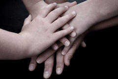 Love Hands. Married couple with children, only the hands Stock Image