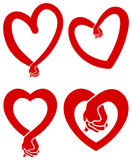 Love hands. Isolated line art love heart designs Stock Photography
